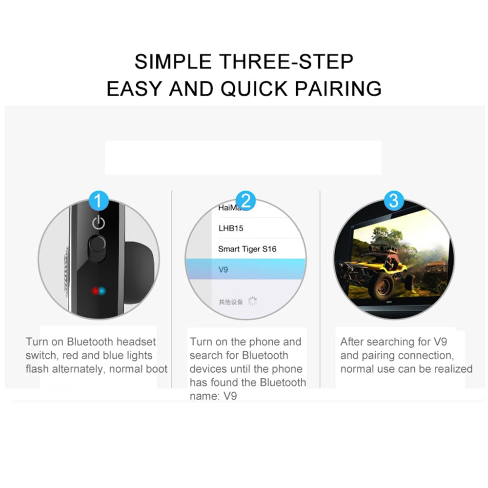 New V9 Handsfree Wireless Bluetooth Earphones Noise Control Business Wireless Bluetooth Headset with