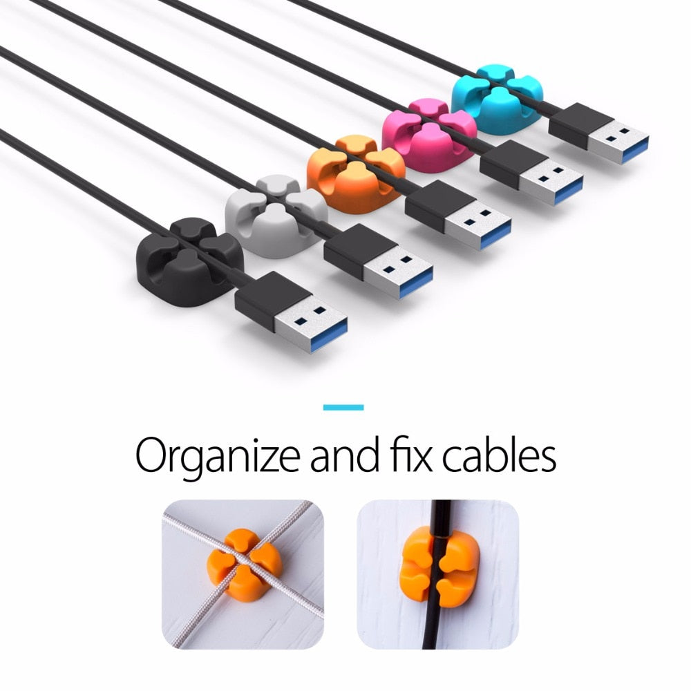 ORICO 10Pcs Colorful Cable Winder Wire Storage Silicon Cable manager Holder Desk Tidy Organiser