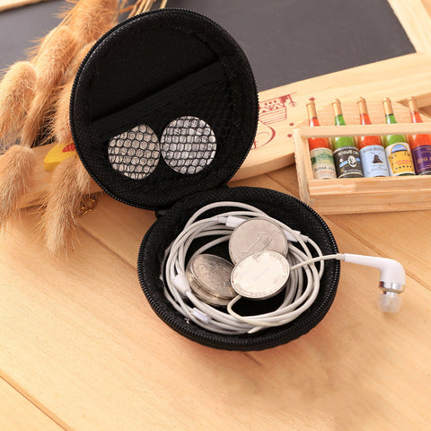 Overfly Portable Case for Headphones Case Mini Zippered Round Storage Hard Bag Headset Box for