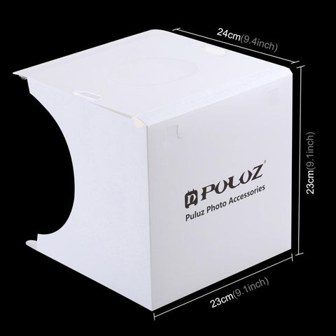 PULUZ 20*20cm 8 Mini Folding Studio Diffuse Soft Box Lightbox With LED Light Black White Photography