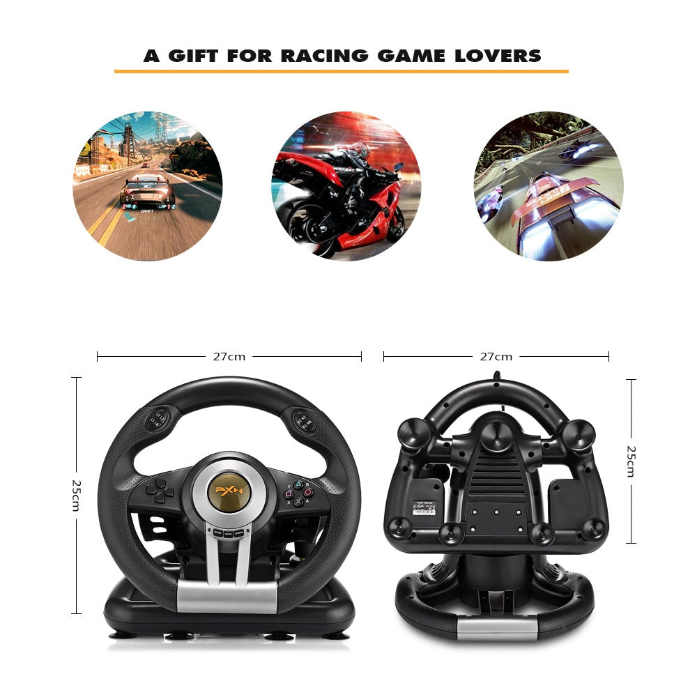 PXN V3II Racing Game Steering Wheel USB Game Controller Computer Car Driving Simulator for PC Wii
