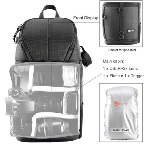Photo Camera Sling Bag Shoulder Cross Digital Case Waterproof w/ Rain Cover DSLR Soft Men Women