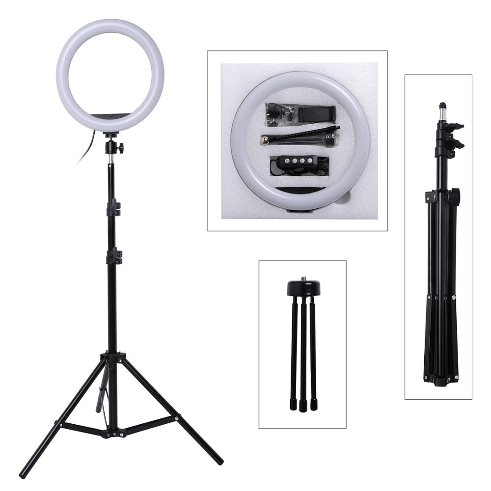 Photo LED Selfie Stick Ring Fill Light 10inch Dimmable Camera Phone Ring Lamp With Stand Tripod