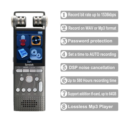 Professional Voice Activated Digital Audio Voice Recorder 16GB 32G USB Pen Non-Stop 100hr Recording