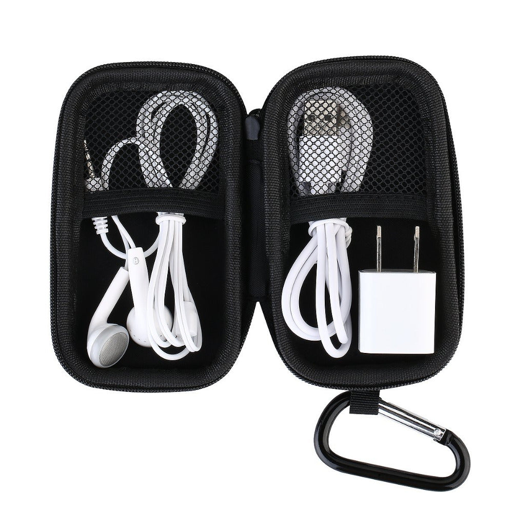Protective Storage Case Bag for MP3 Players Earphones Headphone Holder with Metal Carabiner Clip