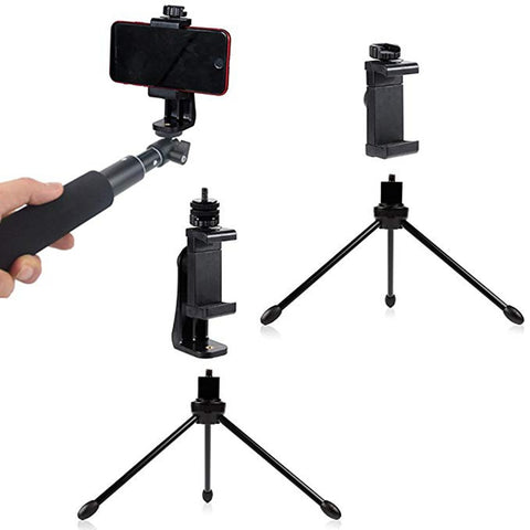 Rovtop Tripod Mount Adapter Cell Phone Clipper Holder Vertical 360 Rotation Tripod Stand