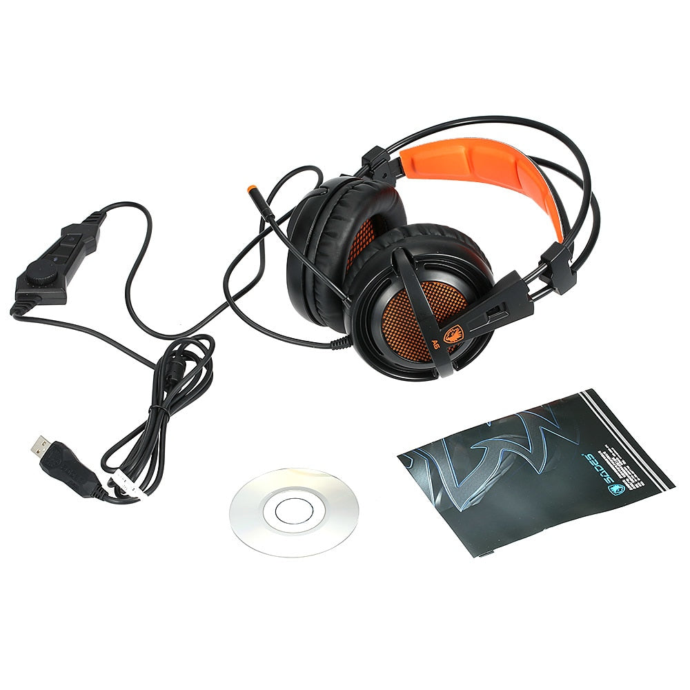 SADES A6 USB 7.1 Stereo wired gaming headphones game headset over ear with mic Voice control for