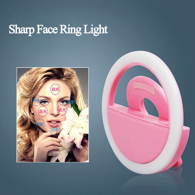 SCOMAS Phone Camera Beauty Selfie LED Ring Light 3 Level Adjustable Brightness Rechargeable Clip
