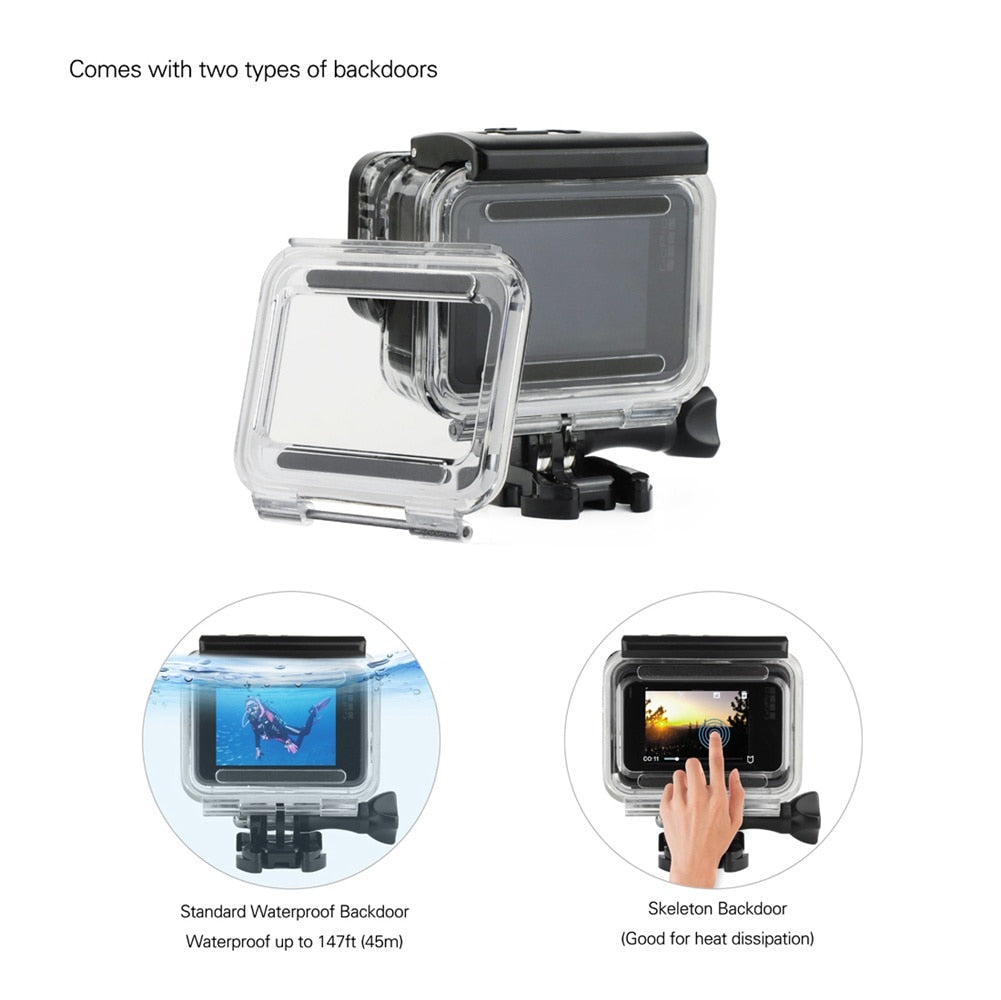 SOONSUN 45M Underwater Diving Waterproof Housing Case + Dive Color Lens Filter Kit for GoPro Hero