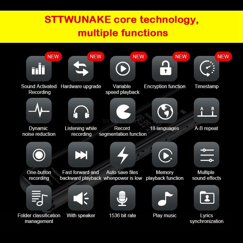 STTWUNAKE mini digital voice recorder audio pen dictaphone small sound recorder