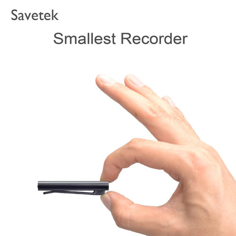 Savetek Smallest Mini Clip USB Pen Voice Activated 8GB 16GB Digital Voice Recorder With MP3 Player