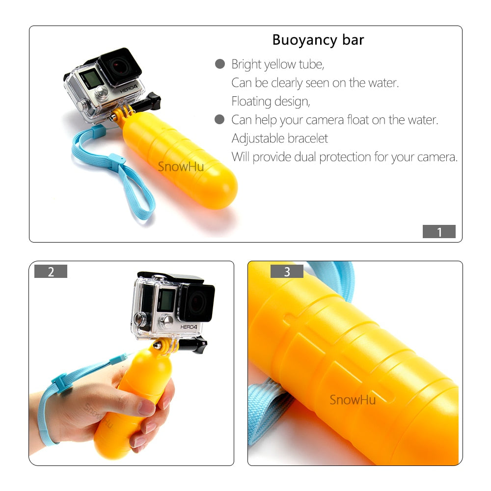 SnowHu Arrival Yellow Water Floating Hand Grip Handle Mount Float Accessory for Gopro Hero 7 6 5 4