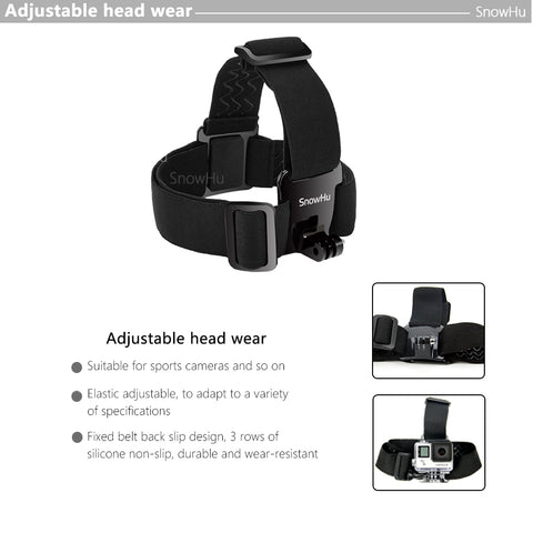SnowHu Head Strap Action Camera For Gopro Hero 7 6 5 4 3 Black Elastic Type For Sport Cameras For
