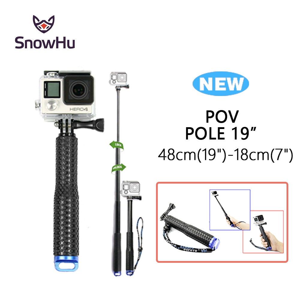 SnowHu for GoPro 6 5 Aluminum Extendable Pole Selfie Stick Monopod Tripod Mount for GoPro Hero 6 5 4