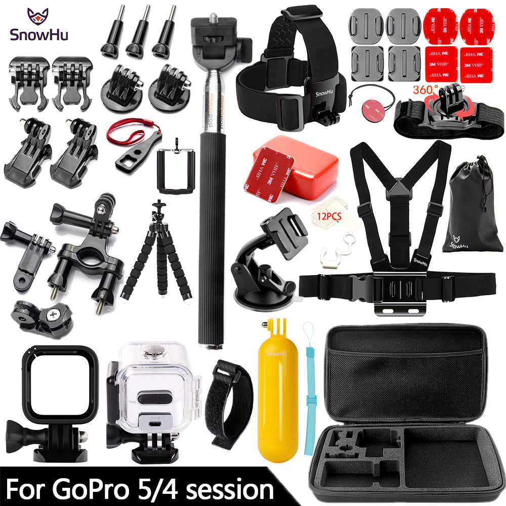 SnowHu for Gopro Hero 5 / 4 Session Accessories Set Tripod 3 Way Monopod for Go pro hero 5