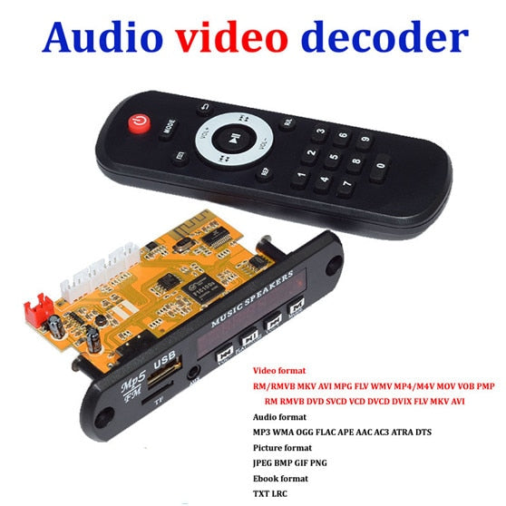 Stereo Video Decoder Board DIY TV BOX RM/RMVB FLAC APE BT eBook Audio Decoding Module MP3 AUX CVBS