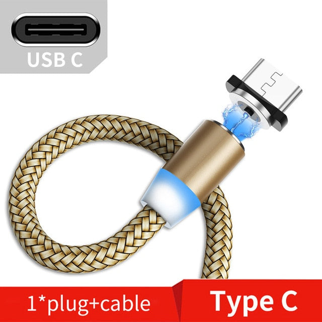 Suhach 1m 2m Magnetic Cable LED Micro usb Type C Magnetic usb Charging Cable For iPhone X 7 8 XS Max