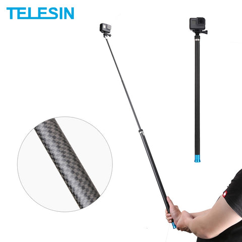 "TELESIN 106"" Long Carbon Fiber Handheld Selfie Stick Extendable Pole Monopod"