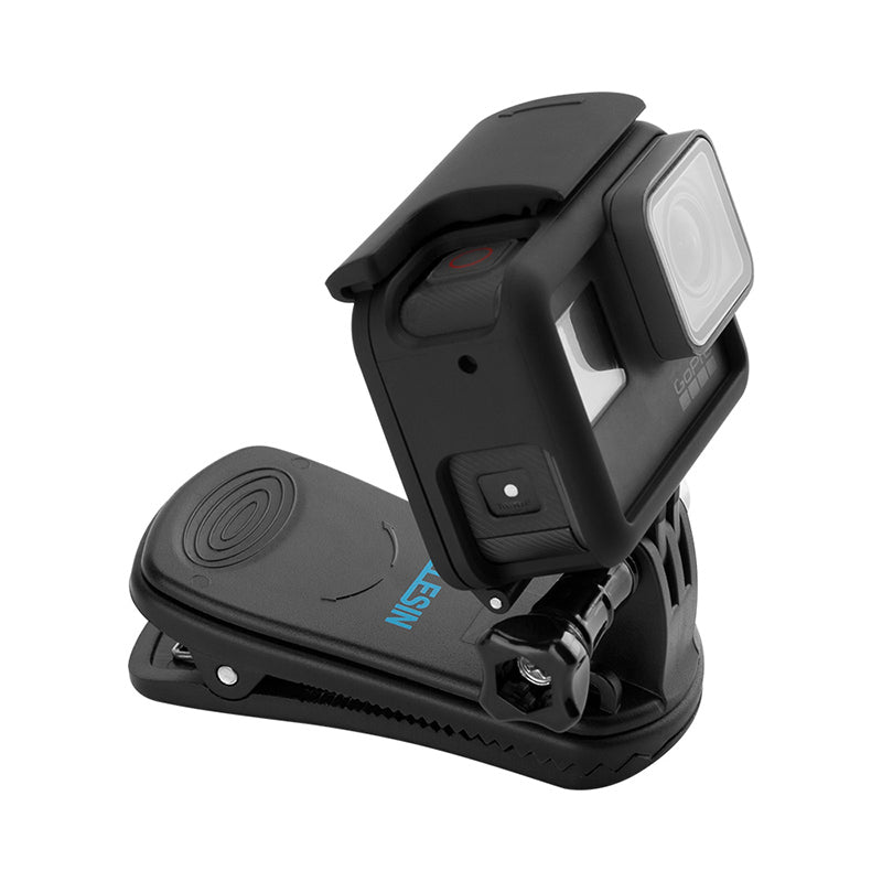 TELESIN Quik Release 360 Rotary Backpack Clip Clamp Rec-mounts Fast Hat Clip Mount for GoPro Hero