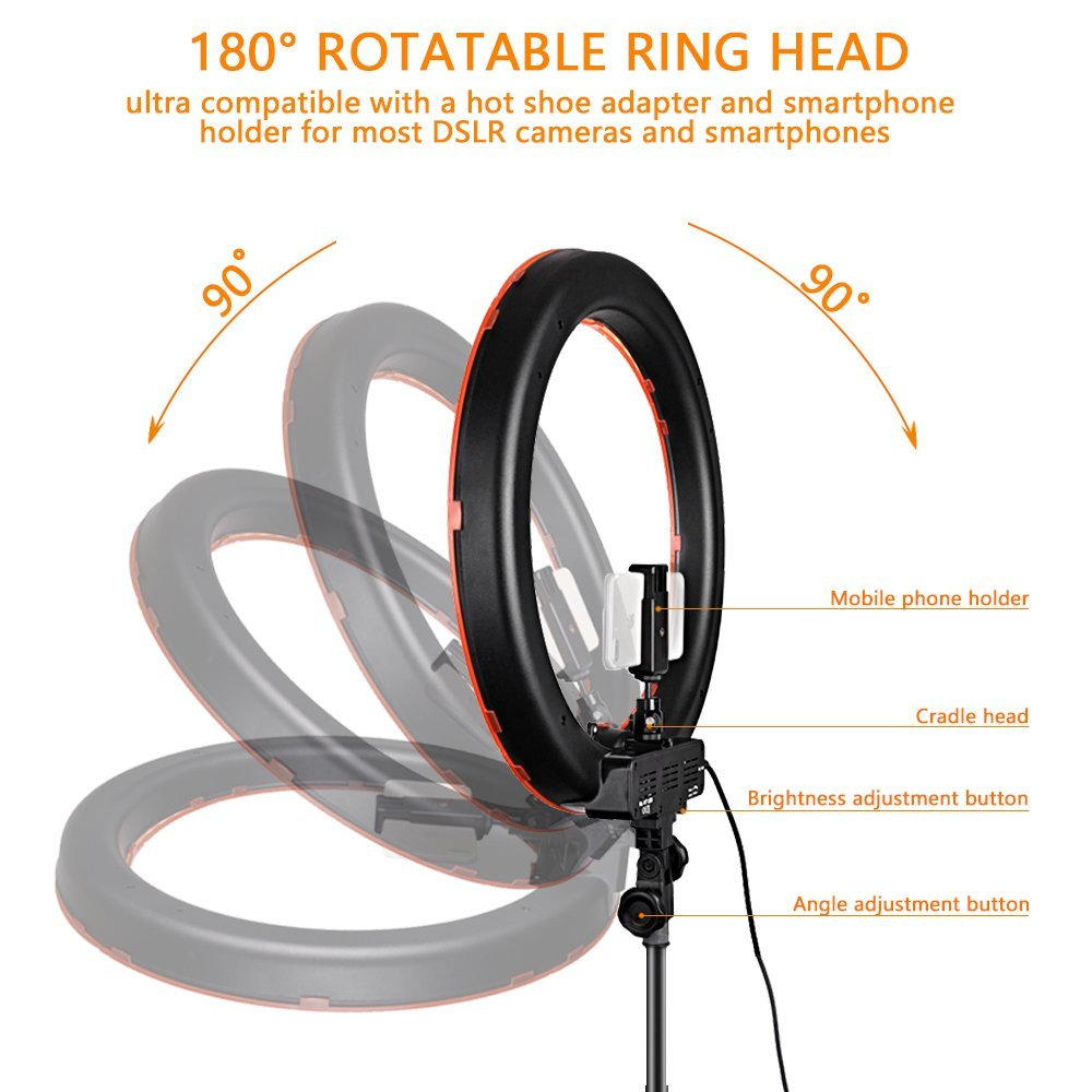 Travor RL-18 Dimmable photography ring light with carry bag 240pcs led beads inside 55w ringlight
