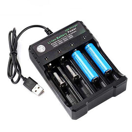 USB 18650 Battery Charger Black 4 Slots AC 110V 220V Dual for 18650 Charging 3.7V Lithium Batteries