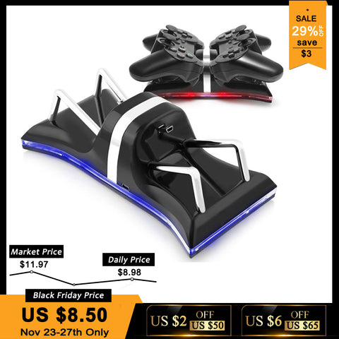 USB Dual Controllers Ports Charge Station Charging Dock Stand For Sony PlayStation 3 Blue Light