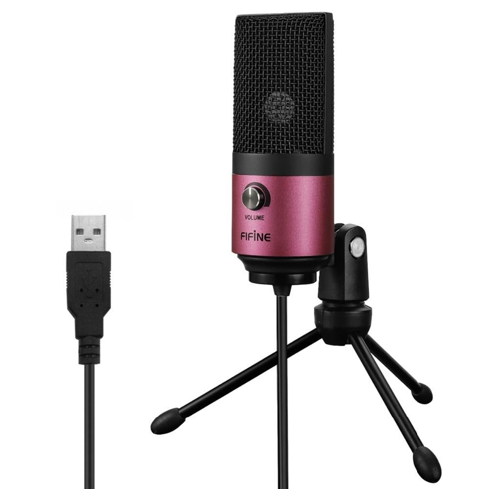 USB MIC Fifine Desktop Condenser Microphone for YouTube Videos Live Broadcast Online Meeting Skype