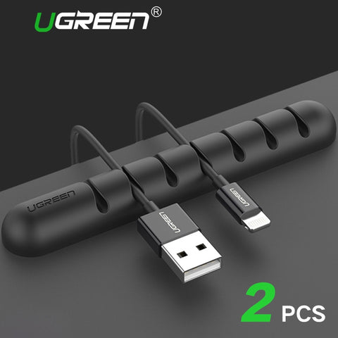 Ugreen Cable Organizer Silicone USB Cable Winder Flexible Cable Management Clips Cable Holder For