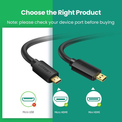 Ugreen Micro HDMI 4K/60Hz 3D Effect Micro Mini HDMI to HDMI Cable Male to Male