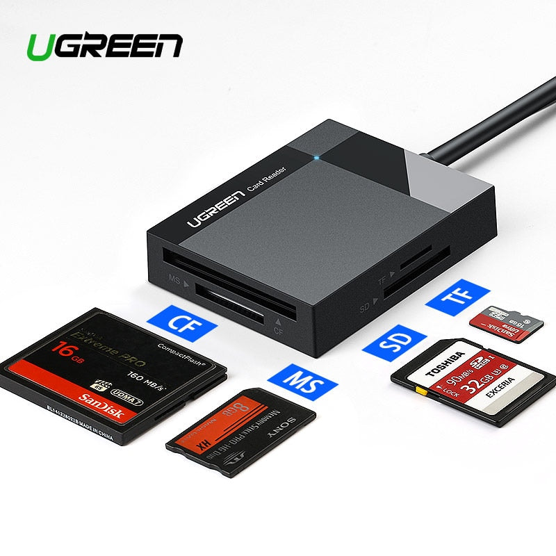 Ugreen USB 3.0 Card Reader SD Micro SD TF CF MS Compact Flash Card Adapter for Laptop OTG Type C