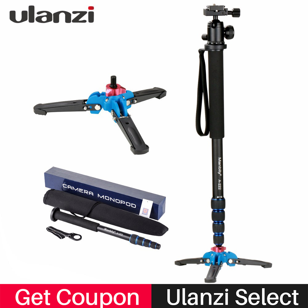 Ulanzi Professional Aluminium Camera Tripod 65inch 5 Sections Manbily Video Monopod for Canon