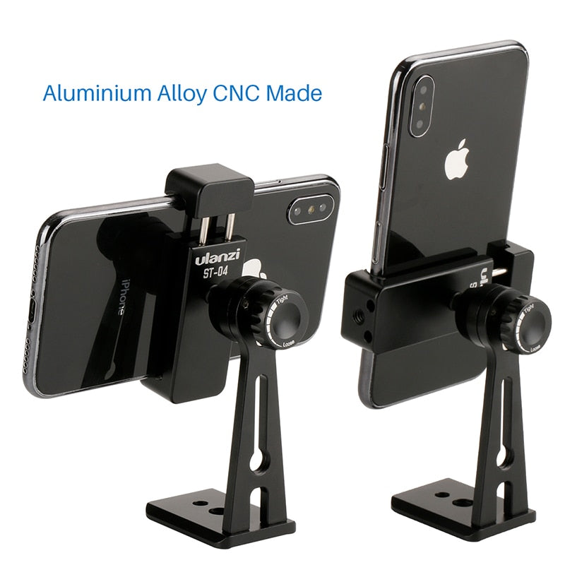 Ulanzi ST-04 Tripod Clamp Mount Smartphone Holder Mount Adapter w Bluetooth Remote Shutter Live