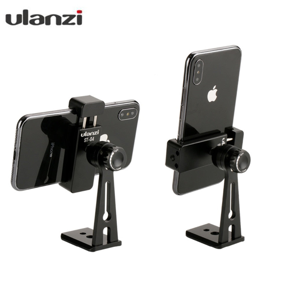 Ulanzi ST-04 Tripod Clamp Smartphone Mount Holder Mount Adapter Live Tripod 360 Rotation Phone
