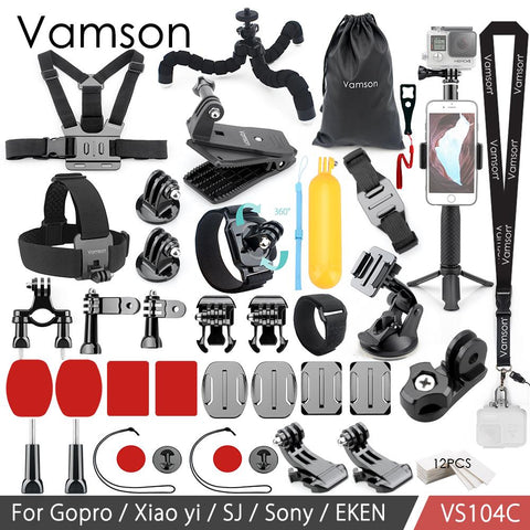 Vamson For Gopro Accessories Set for Eken H9R For Gopro Hero 7 6 5 4S Mount Selfie stick Tripod