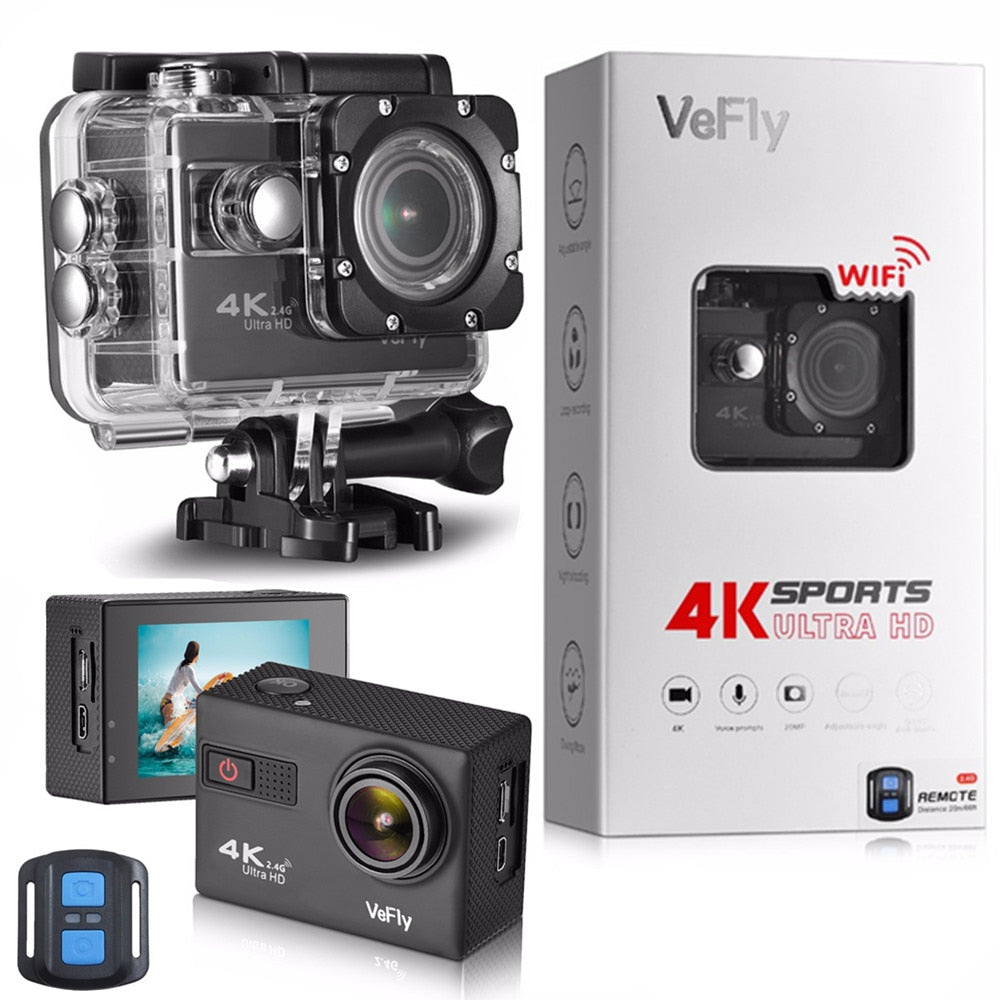 VeFly 4K Ultra HD sport action camera, the waterproof Wi-Fi go pro cam with Anti-Shake electronic