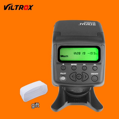 Viltrox JY-610II Mini LCD Flash Speedlite + White Diffuser + Flash Stand for Canon Nikon Pentax