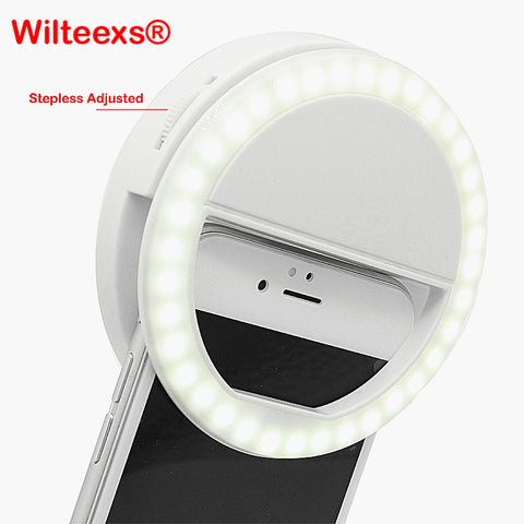 WILTEEXS 36 Led Stepless adjusted Selfie Ring Flash Light Camera Enhancing Photography Luminous Lamp