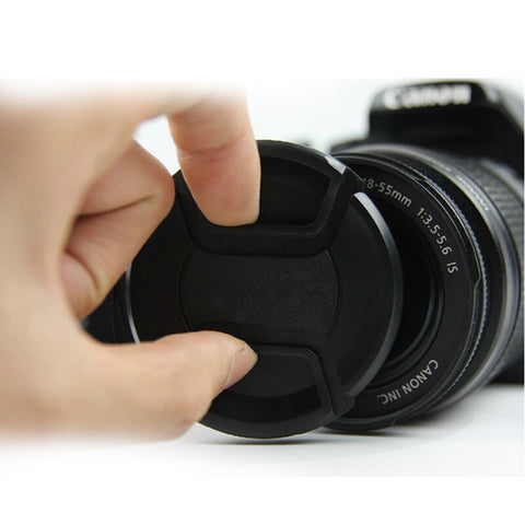 Walkingway Lens Cap Holder 43/49/52/55/58/62/67/72/77/82mm Center Pinch Snap-on Cap Cover