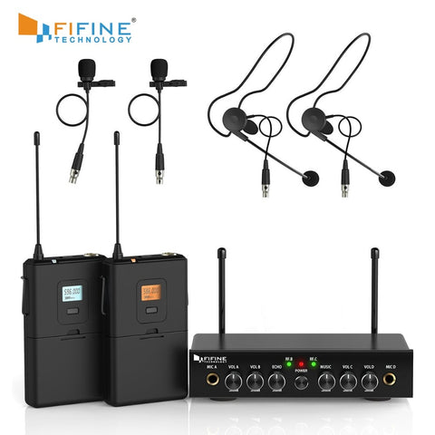 Wireless Microphone System, Fifine UHF Dual Channel Wireless Microphone Set with 2 Headsets & 2