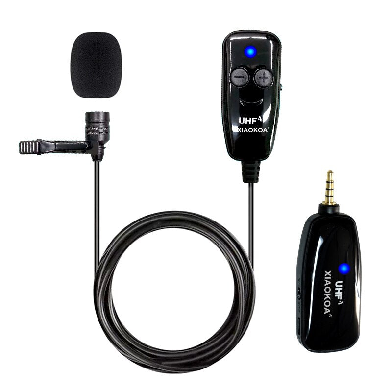 XIAOKOA UHF Lavalier Wireless Microphone Recording Youtube Live Interview Mic