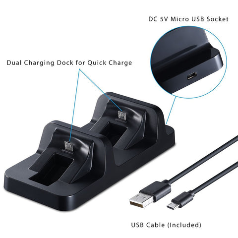 YOTEEN USB Dual Charge Dock for PS4 Controller Charger for Sony Playstation 4 Ps4 Charging Dock