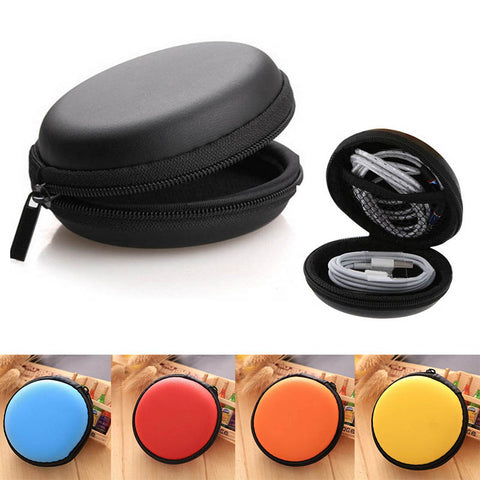 Zippered Portable Round Shape Earphone Bag Headset box Hand Spinner Earphone Hard Case