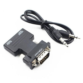 Kebidu HDMI Female to VGA Male Converter with Audio Adapter Support 1080P Signal Output