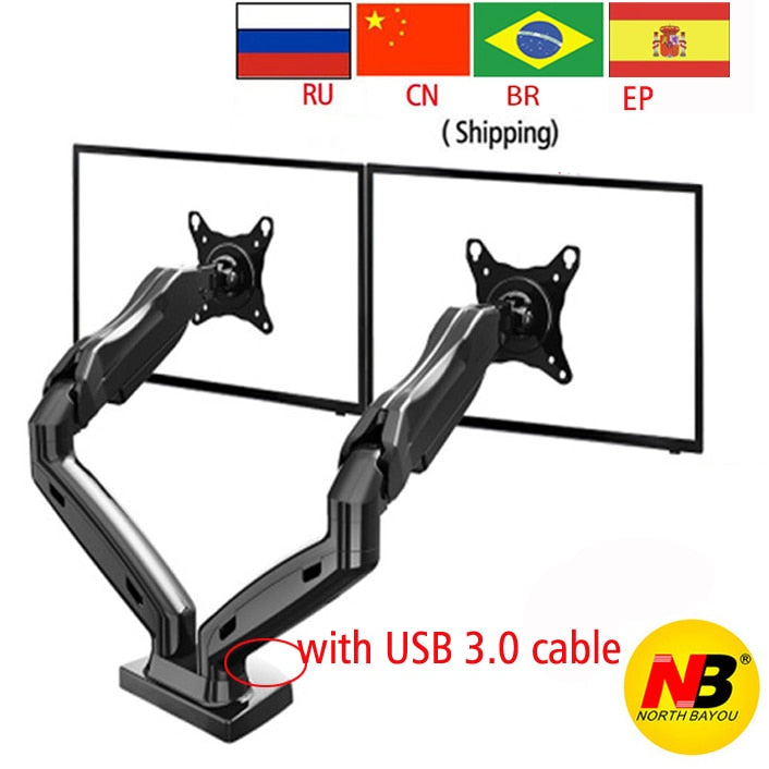 "nb F160 gas spring air press 10""-27"" double monitor desktop stand dual arms 360 rotate USB3.0"