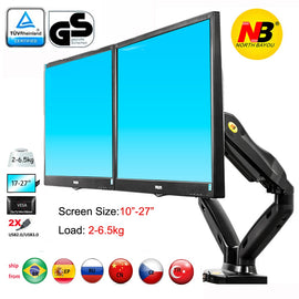 "nb F160 gas spring air press 10""-27"" double monitor desktop stand dual arms 360 rotate USB3.0 computer screen holder clamp hole"
