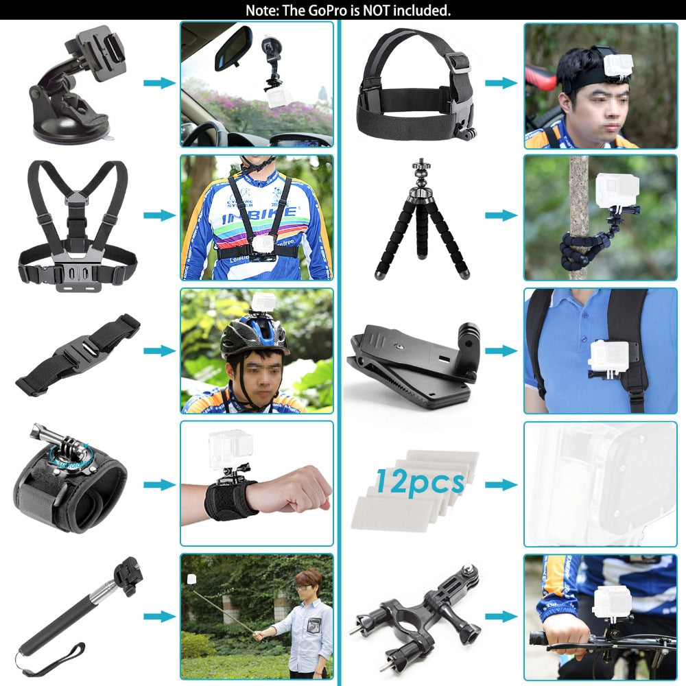 neewer action camera accessory kit for all brand sports camera:Sjcam DBPOWER AKASO APEMAN WiMiUS