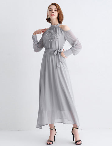 Faux Pearl Beading Open Shoulder Knot Chiffon Dress