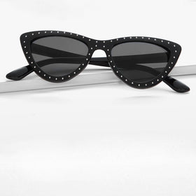 Studded Decorated Frame Cat Eye Sunglasses