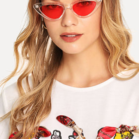 Tinted Lens Clear Frame Sunglasses