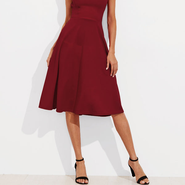 Crisscross Belted Back Fitted & Flared Dress